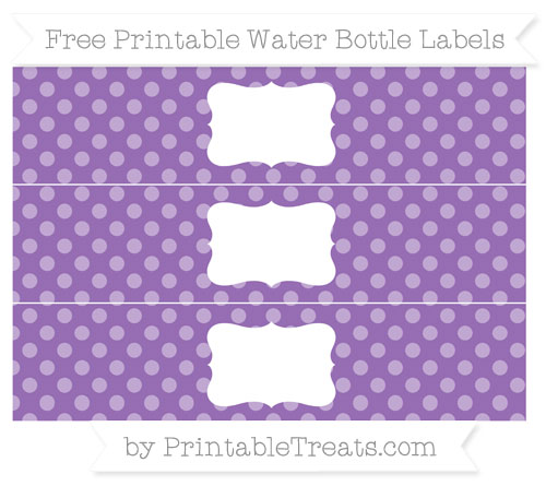 Free Pastel Plum Dotted Pattern Water Bottle Labels