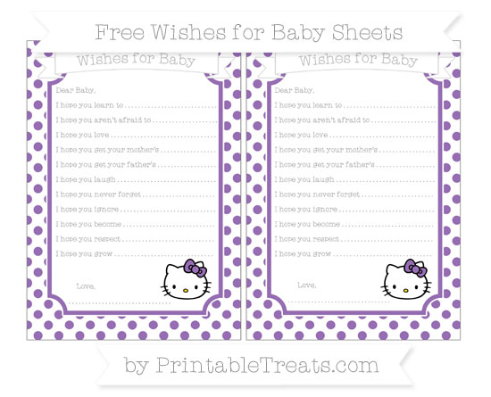 Free Pastel Plum Dotted Pattern Hello Kitty Wishes for Baby Sheets