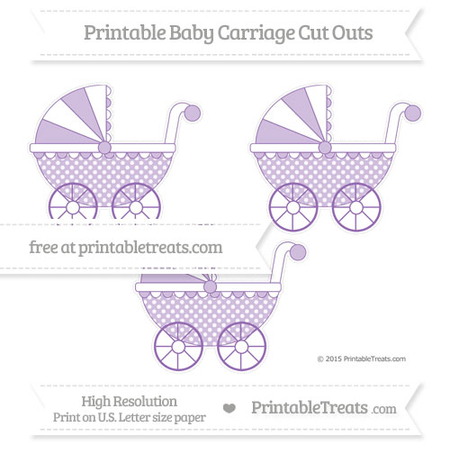 Free Pastel Plum Dotted Pattern Medium Baby Carriage Cut Outs