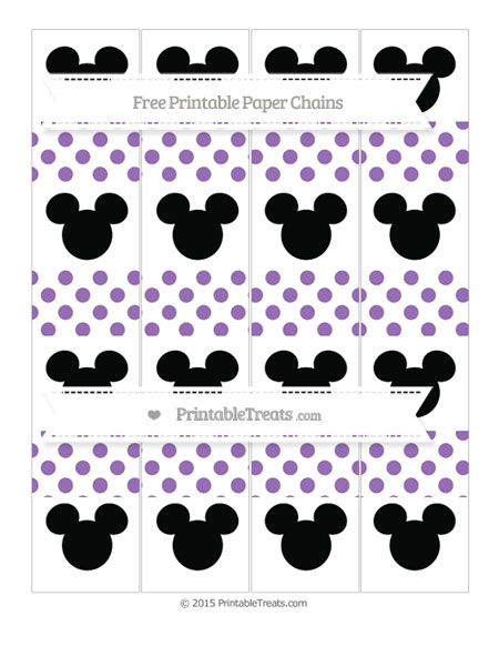 Free Pastel Plum Dotted Pattern Mickey Mouse Paper Chains