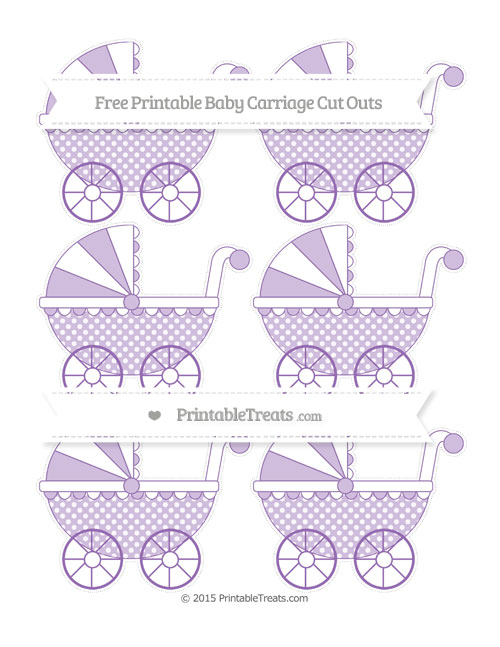 Free Pastel Plum Dotted Pattern Small Baby Carriage Cut Outs
