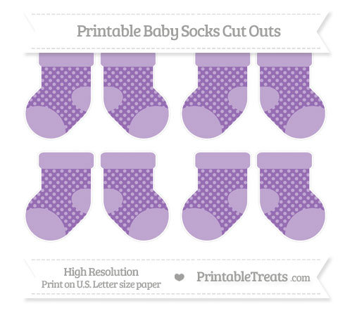 Free Pastel Plum Dotted Pattern Small Baby Socks Cut Outs