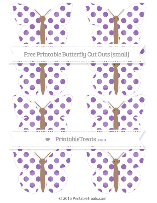 Free Pastel Plum Dotted Pattern Small Butterfly Cut Outs