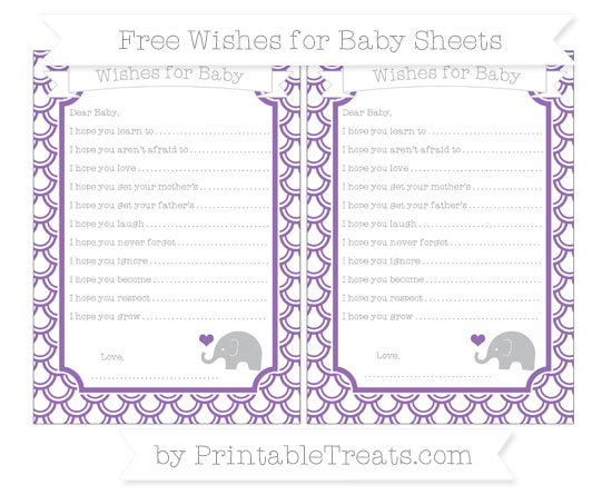 Free Pastel Plum Fish Scale Pattern Baby Elephant Wishes for Baby Sheets