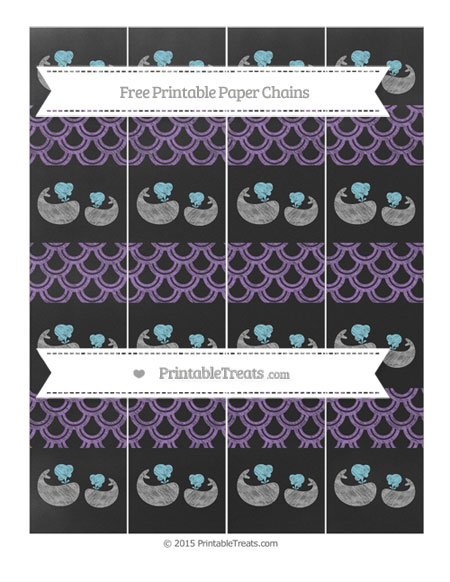 Free Pastel Plum Fish Scale Pattern Chalk Style Baby Whale Paper Chains