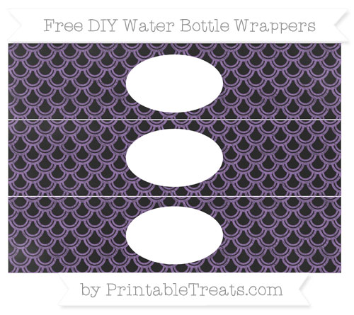 Free Pastel Plum Fish Scale Pattern Chalk Style DIY Water Bottle Wrappers