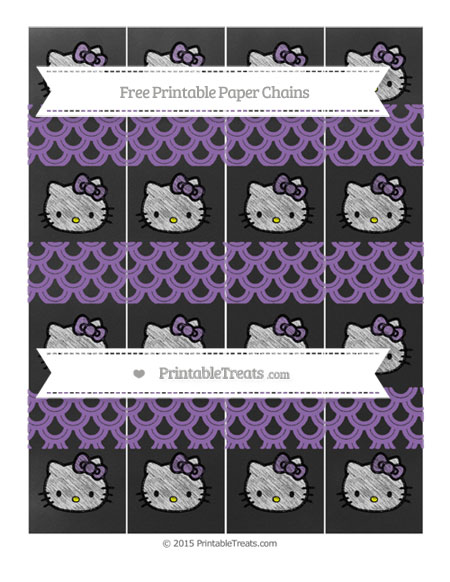 Free Pastel Plum Fish Scale Pattern Chalk Style Hello Kitty Paper Chains