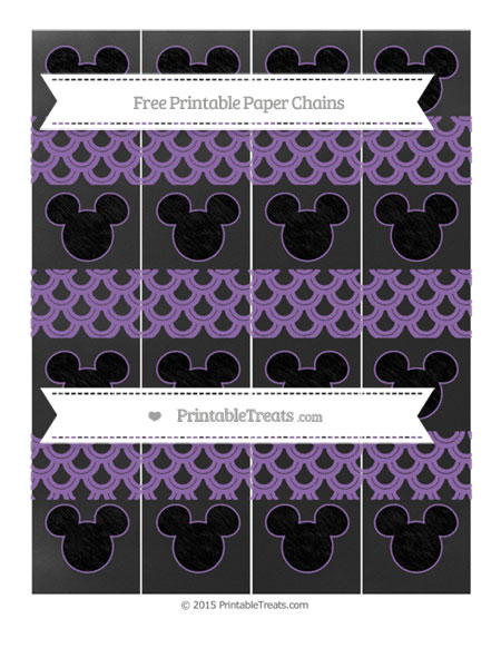 Free Pastel Plum Fish Scale Pattern Chalk Style Mickey Mouse Paper Chains