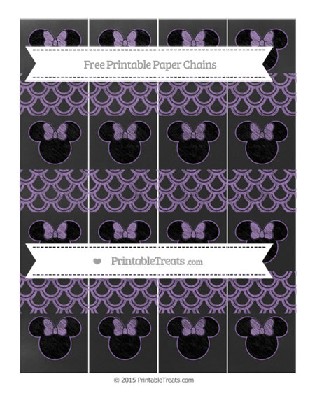 Free Pastel Plum Fish Scale Pattern Chalk Style Minnie Mouse Paper Chains