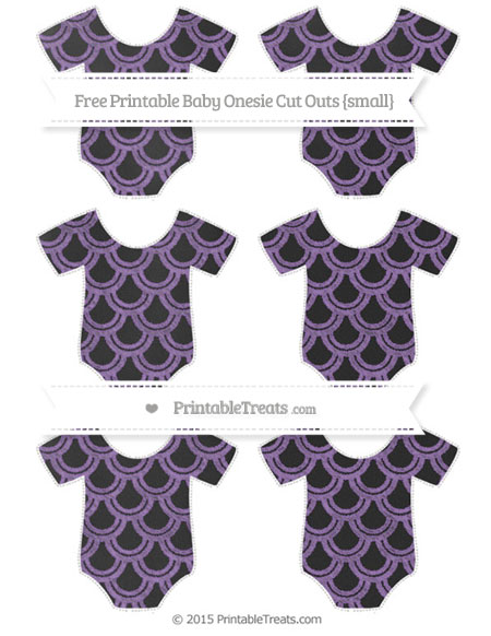 Free Pastel Plum Fish Scale Pattern Chalk Style Small Baby Onesie Cut Outs