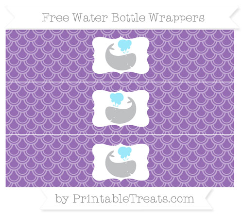 Free Pastel Plum Fish Scale Pattern Whale Water Bottle Wrappers