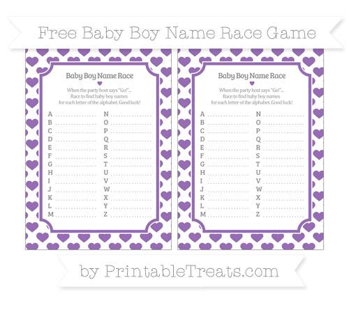 Free Pastel Plum Heart Pattern Baby Boy Name Race Game