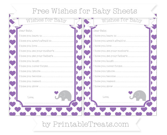 Free Pastel Plum Heart Pattern Baby Elephant Wishes for Baby Sheets