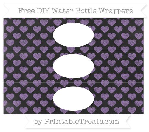 Free Pastel Plum Heart Pattern Chalk Style DIY Water Bottle Wrappers