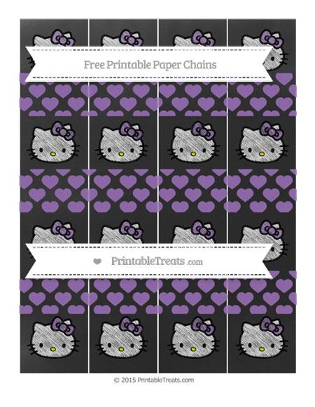 Free Pastel Plum Heart Pattern Chalk Style Hello Kitty Paper Chains