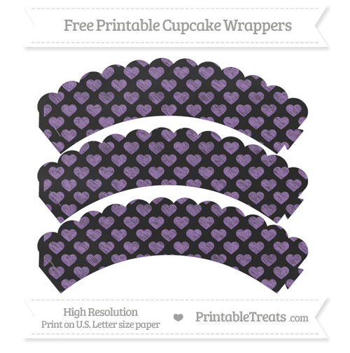 Free Pastel Plum Heart Pattern Chalk Style Scalloped Cupcake Wrappers