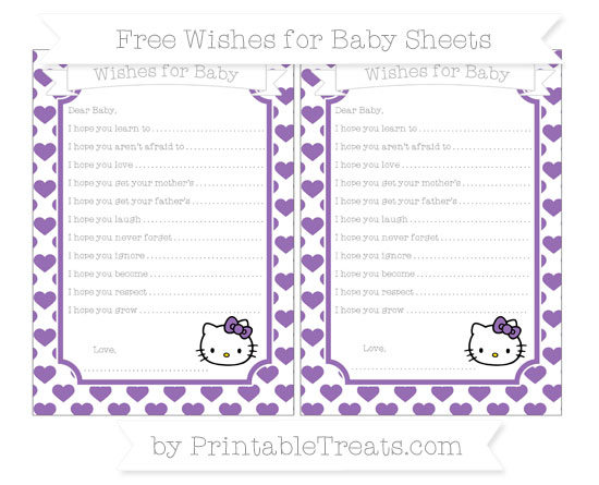 Free Pastel Plum Heart Pattern Hello Kitty Wishes for Baby Sheets