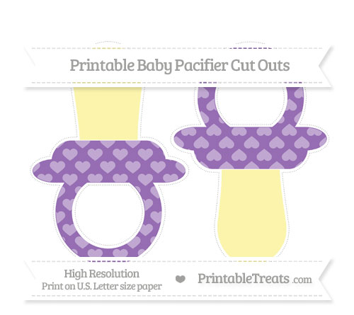 Free Pastel Plum Heart Pattern Large Baby Pacifier Cut Outs