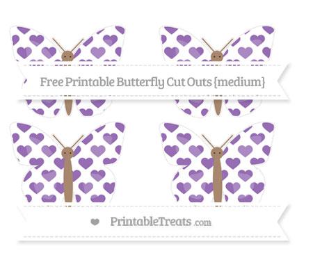 Free Pastel Plum Heart Pattern Medium Butterfly Cut Outs