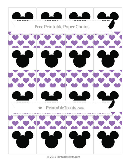 Free Pastel Plum Heart Pattern Mickey Mouse Paper Chains