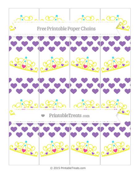 Free Pastel Plum Heart Pattern Princess Tiara Paper Chains