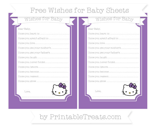 Free Pastel Plum Hello Kitty Wishes for Baby Sheets