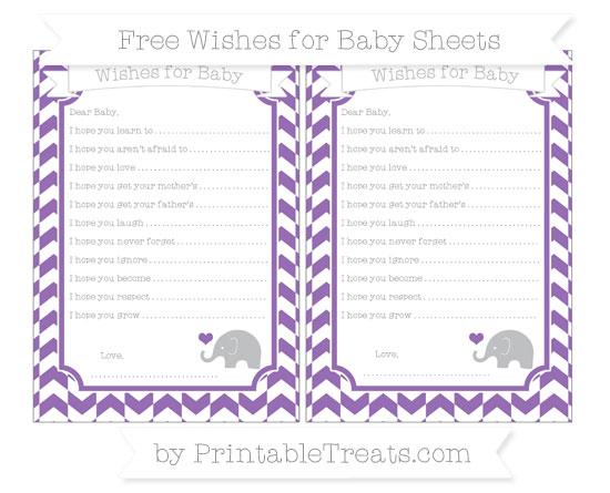 Free Pastel Plum Herringbone Pattern Baby Elephant Wishes for Baby Sheets