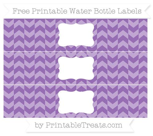 Free Pastel Plum Herringbone Pattern Water Bottle Labels