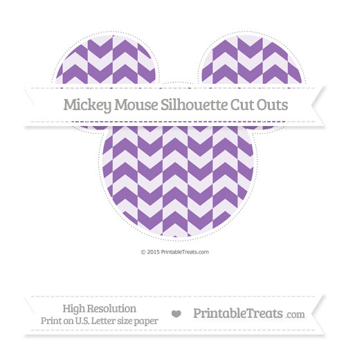 Free Pastel Plum Herringbone Pattern Extra Large Mickey Mouse Silhouette Cut Outs