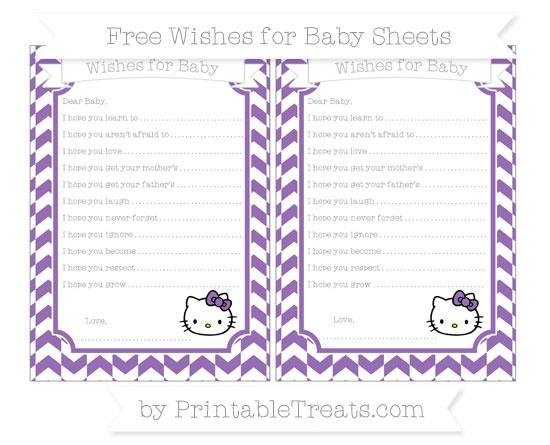 Free Pastel Plum Herringbone Pattern Hello Kitty Wishes for Baby Sheets