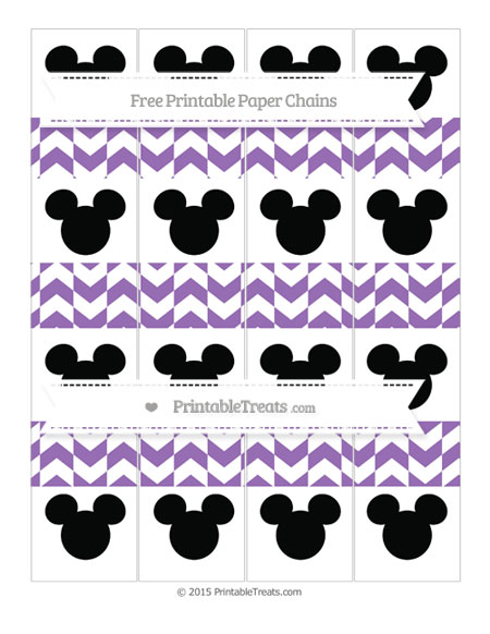 Free Pastel Plum Herringbone Pattern Mickey Mouse Paper Chains