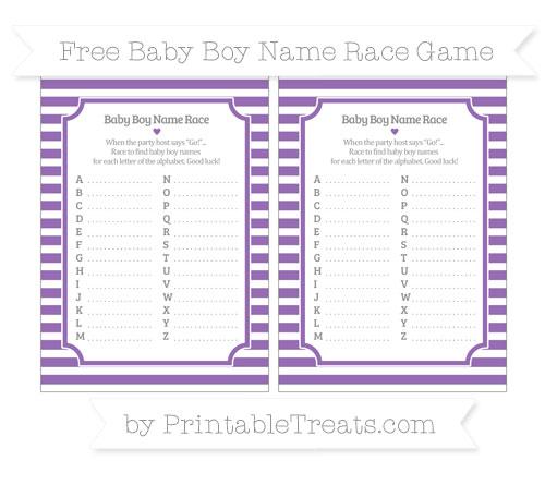 Free Pastel Plum Horizontal Striped Baby Boy Name Race Game