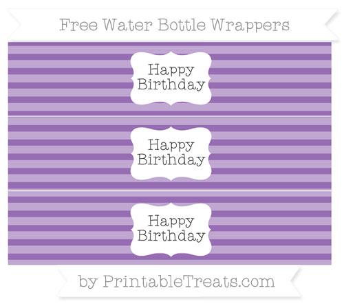 Free Pastel Plum Horizontal Striped Happy Birhtday Water Bottle Wrappers