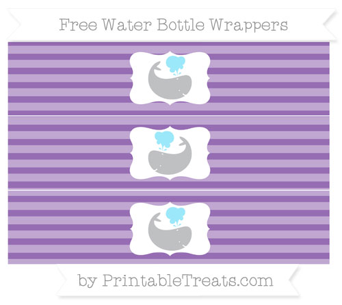 Free Pastel Plum Horizontal Striped Whale Water Bottle Wrappers