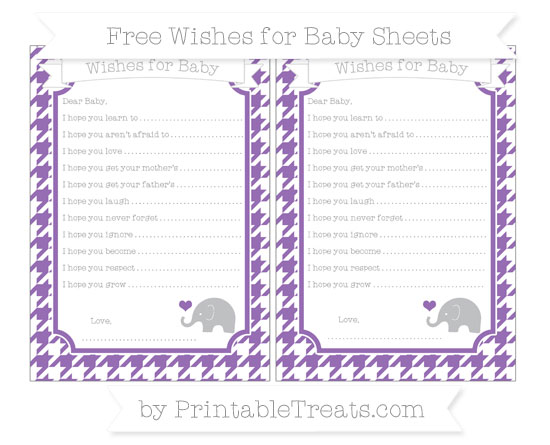 Free Pastel Plum Houndstooth Pattern Baby Elephant Wishes for Baby Sheets