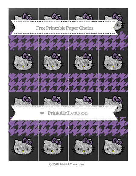 Free Pastel Plum Houndstooth Pattern Chalk Style Hello Kitty Paper Chains