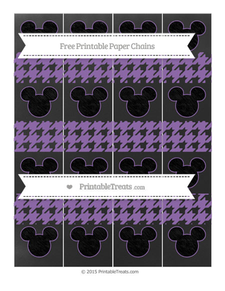 Free Pastel Plum Houndstooth Pattern Chalk Style Mickey Mouse Paper Chains