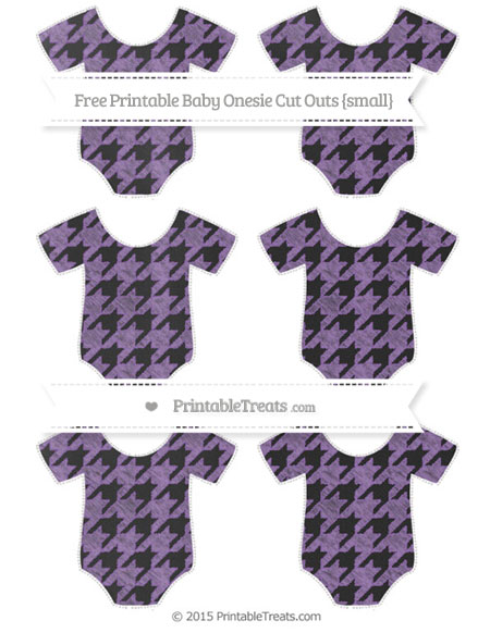Free Pastel Plum Houndstooth Pattern Chalk Style Small Baby Onesie Cut Outs
