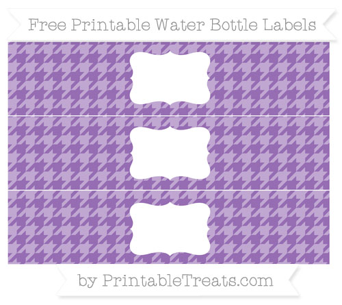 Free Pastel Plum Houndstooth Pattern Water Bottle Labels
