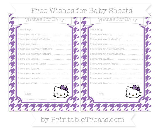 Free Pastel Plum Houndstooth Pattern Hello Kitty Wishes for Baby Sheets