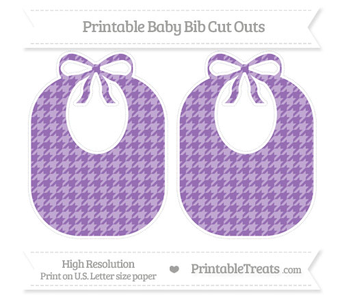 Free Pastel Plum Houndstooth Pattern Large Baby Bib Cut Outs