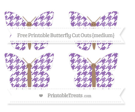 Free Pastel Plum Houndstooth Pattern Medium Butterfly Cut Outs
