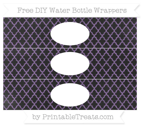 Free Pastel Plum Moroccan Tile Chalk Style DIY Water Bottle Wrappers