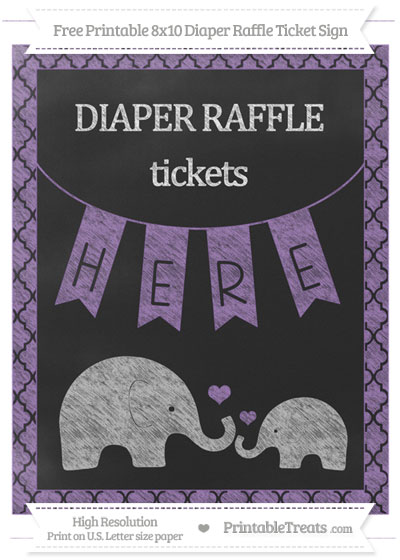 Free Pastel Plum Moroccan Tile Chalk Style Elephant 8x10 Diaper Raffle Ticket Sign