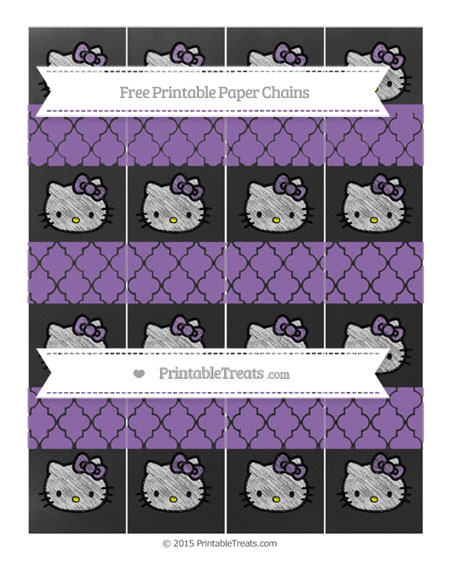 Free Pastel Plum Moroccan Tile Chalk Style Hello Kitty Paper Chains