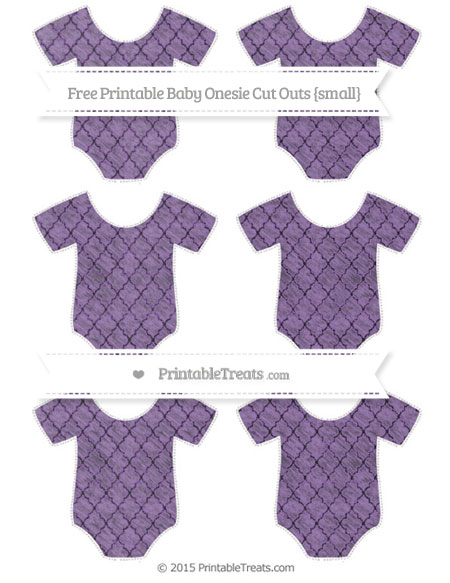 Free Pastel Plum Moroccan Tile Chalk Style Small Baby Onesie Cut Outs
