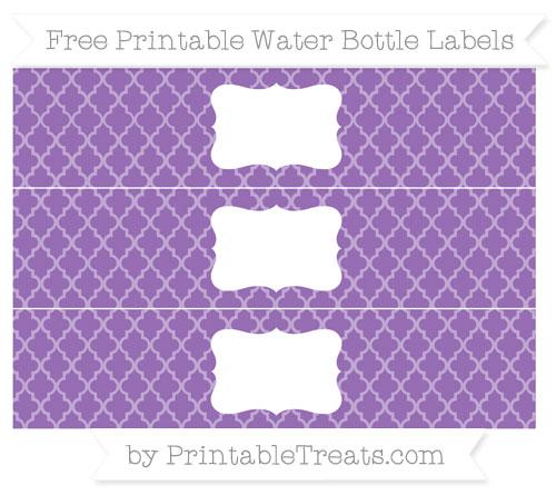 Free Pastel Plum Moroccan Tile Water Bottle Labels