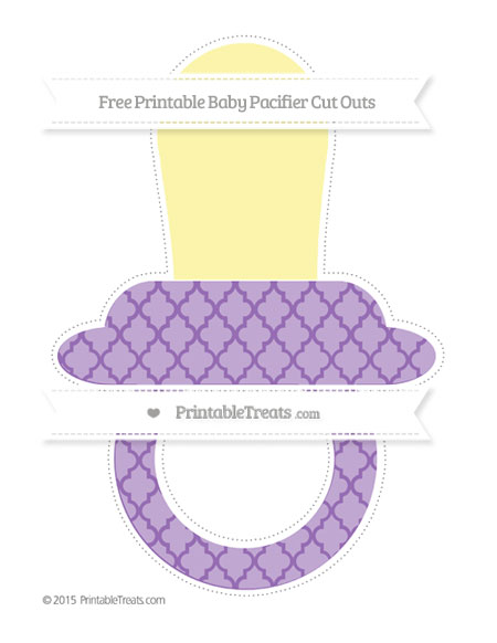 Free Pastel Plum Moroccan Tile Extra Large Baby Pacifier Cut Outs