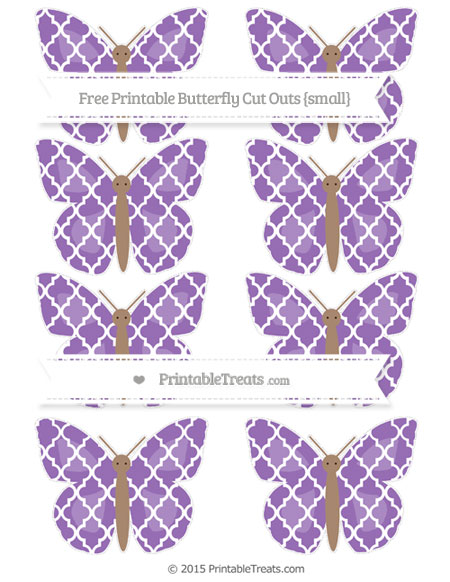 Free Pastel Plum Moroccan Tile Small Butterfly Cut Outs