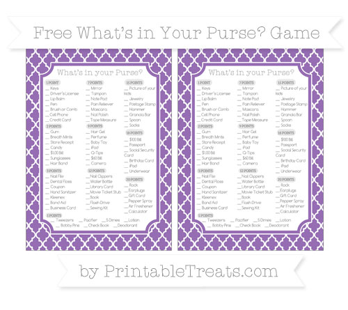 Free Pastel Plum Moroccan Tile What's in Your Purse Baby Shower Game